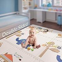 折叠婴儿游戏垫 | 不含双酚 A *泡沫游戏垫199.9x 144.8cm 英寸厚超大双面爬行垫子便携式学步儿童儿童防水防滑活动 tummy 游戏室 Bear House