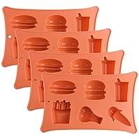 """硅胶巧克力糖果模具:小型不粘硅胶烘焙模具,用于酮*炸弹,软糖,果冻,冰块托盘 - 汉堡,热狗,法国薯条,饮料,鸡肉腿,冰淇淋 橙色 6.5"""" x 4.15"""""""