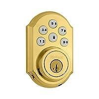 Kwikset 909 SmartCode Electronic Deadbolt featuring SmartKey in Lifetime Polished Brass