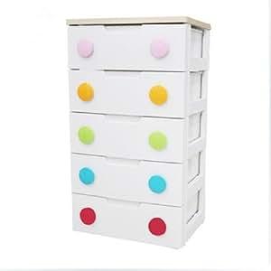 IRIS 日本爱丽思 儿童多层抽屉整理柜收纳柜 彩扣整理柜HG-555 白色 5层