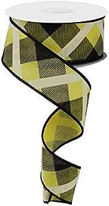 """格子帆布线边缎带,10 码 Yellow, Black, White 1.5 """" RG01682AN"""
