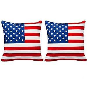 Newweic 43.18 x 43.18 cm 天鹅绒沙发装饰柔软抱枕套可水洗靠垫套旗帜印花 红色 USA