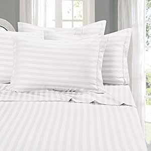 """Elegant Comfort® 1500 Thread Count -DAMASK STRIPES- Egyptian Quality Luxurious Silky Soft WRINKLE & FADE RESISTANT 4 pc Sheet set, Deep Pocket Up to 16"""" - California King White"""