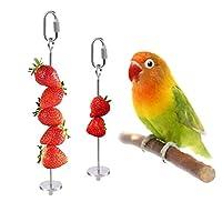 VLAMPO 蔬菜串水果架喂食器,蔬菜悬挂喂食器,宠物鸡鸟玩具(1 个不锈钢)