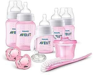Philips飞利浦AVENT防疝气新生婴儿奶瓶套装 粉色