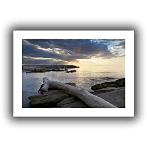 Art Wall 'Lake Erie Sunset II' Flat Unwrapped Canvas Art by Dan Wilson, 28 by 40-Inch