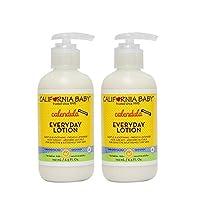 California Baby 加州宝宝 金盏花日常乳液保湿霜,8.5盎司(约240.97克),192毫升,适合干性,敏感性的皮肤 | 沐浴后换尿布 | 不油腻,快速吸收的成分 | 2瓶