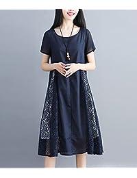 夏季时尚棉麻连衣裙女韩版气质拼接蕾丝裙大码宽松显瘦中长裙LK-ER8090
