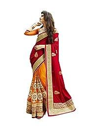 Da Facioun 印度女设计师派对服 深红色纱丽莎丽 R-13628