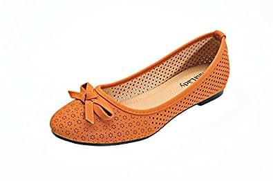 Mila Lady 激光切割休闲舒适时尚隐形高女式平底鞋(Elisa2) 驼色 8.5 M US