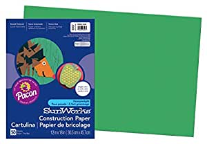 Pacon SunWorks Construction Paper, 12-Inches by 18-Inches, 50-Count, Holiday Green (8007)
