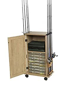 "Organized Fishing- Large Rolling Storage and Organization Cabinet for Fishing Rods and Tackle Utility Boxes, 12 Rod Capacity, 20.5"" x 33.5"" x 11.8"", Distressed Wood Finish (DFDC-008)"