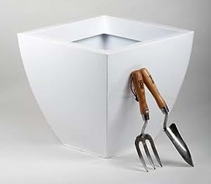Portofino 系列 40 厘米镀锌钢弧形锥形方形花盆 40 cm 白色 PLTSP40GW