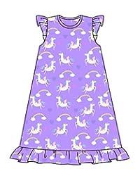 魔法独角兽彩虹紫色面料成人睡衣长袍