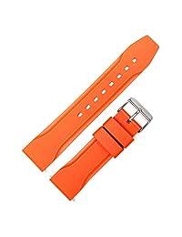 MARATHON 潜水员模型橡胶手表表带/表带(22 毫米,橙色)。 意大利制造。