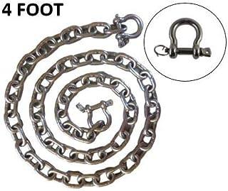 防关闭钩环不锈钢 316 锚链 1/4 英寸或 6 毫米乘 4 英尺长,带防关闭钩环