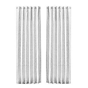 Chezmoi 系列 Gloria 豪华印花提花棉被 5 件套 白色 Curtain Set
