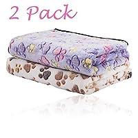 iNNEXT 2 件装宠物垫小猫床柔软温暖睡垫,宠物狗猫小猫咪柔软毛毯狗狗温暖床垫 爪印 White/Lavender