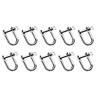 迷你溜冰者银色 U 形扣重型 D 环锁蝴蝶结扣钢丝绳紧固件硬件配件,10 件