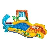"Kids Backyard Fun Play Intex 恐龙水滑梯充气中心夏季户外泳池乐趣游泳 8"" 米色"