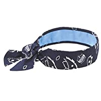 Ergodyne Chill-Its 6700CT Evaporative Cooling Bandana with Cooling Towel Material - Tie, Navy Western