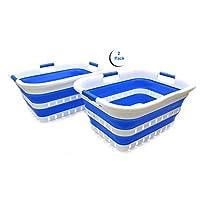 SAMMART 2 件套可折叠3手柄塑料洗衣篮 – 可折叠弹出式存储容器/收纳盒 – 便携式清洗桶 – 节省空间的篮/篮子 White/dark blue