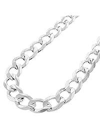 Pori Jewelers 925 纯银 12 毫米古巴/章节链项链 - 意大利制造 - 龙虾爪扣 白色