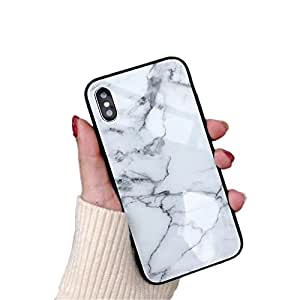 iPhone 7Plus iphone 8PLUS iphone 4手机壳奢华钢化玻璃后盖带软 TPU 防震外框减震360度全身 Strong 保护*修身黑色 White Marble