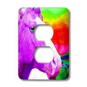 3dRose LLC lsp_79633_6 一匹马在霓虹灯上完成紫色适用于儿童,带霓虹灯背景的 2 个插头插座盖
