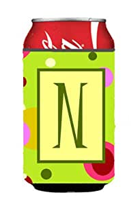 字母 N 首字母交织字母 - 绿色罐或瓶子饮料保温器 Hugger