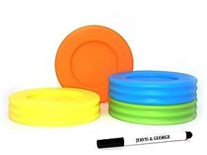 广口梅森罐盖 - 兼容宽口大小球罐 - 可重复使用和防漏塑料盖不含 BPA 橙色、绿色、黄色、蓝色 4 Pack