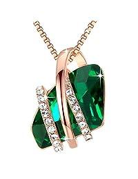 Leafael 许愿石吊坠项链 施华洛世奇水晶诞生石首饰礼物女士镀玫瑰金,银色 May Birthstone - Emerald Green Crystals Rose Gold Plated Chain