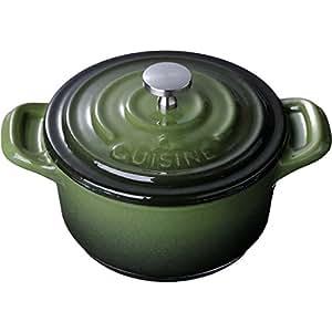 La Cuisine 4 In. Enameled Cast Iron Mini Covered Casserole, Green