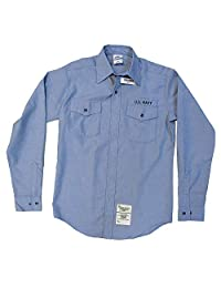 男式美国*实用工作衬衫 条纹布 - 长袖