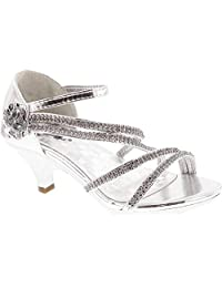 Link Glamour-28 儿童水钻花朵闪亮鞋跟设计礼服凉鞋