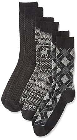 ( walcha ) 提花袜子3双装  棕色 日本 25-27-(日本サイズM相当)