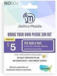 Jethro Mobile $5/30 天无线计划 | 150 个通话和文本在美国和加拿大墨西哥(3 合 1 GSM SIM 卡)
