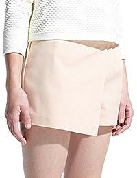 MANGO 女式 棉质混纺斜裙摆短裤 单线嵌袋 4108022