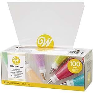 "Wilton 12 英寸一次性装饰袋,24 个 - 12 英寸一次性吸管袋 透明 12"" 100 count 2104-1249"