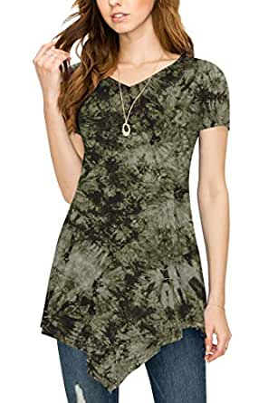 LL Womens Short Sleeve All Over Tie-Dye Ombre Tunic Shirt - Made in USA Wt1063_olive Medium