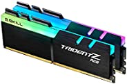 G.SKILL 芝奇 F4-3200C14D-16GTZR Trident Z RGB 系列 16 GB (8 GB x 2) DDR4 3200 MHz PC4-25600 CL14 双通道内存套装 黑色 RGB LE