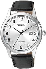 Citizen 西鐵城 男士模擬太陽能手表帶皮革表帶AW1231-07A