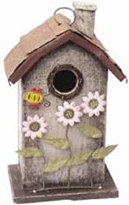 花园装饰 ZH3009C 鸟舍,11 英寸,奶油色