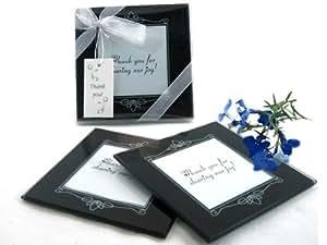"Artisano Designs ""Memories Forever""玻璃照片杯垫 黑色 Set of 2 A51010"