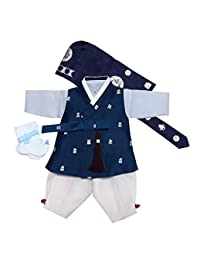 100天诞生韩国婴儿男孩韩步传统服装服装庆祝派对*蓝银印花套装