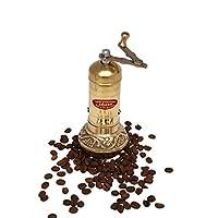 6.4英寸(约16厘米)手工制作手工黄铜咖啡研磨机,便携式锥形毛刺咖啡研磨机,便携式手动曲柄土耳其咖啡研磨机