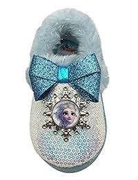Disney 冰雪奇缘 2 ELSA & Anna 毛绒橡胶底亮片拖鞋(幼儿 9-10 码)