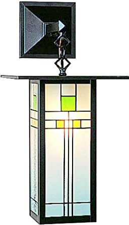 Arroyo Craftsman FB-9LSA-C-BZ Franklin Collection 1-Light Exterior Wall Lantern, Bronze Finish with Yellow-Green Glass