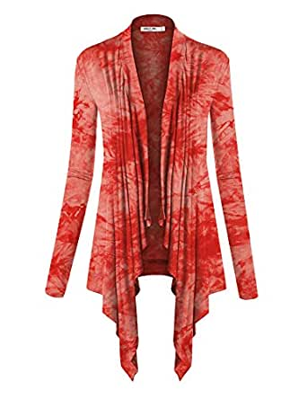 Lock and Love LL Womens Long Sleeve Draped Open Front Cardigan Wsk1072_coral XX-Large