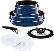 T-fal ingenio五层涂层不粘锅组合十件套 宝蓝色 可拆卸锅把 天然气灶用 10件